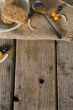 Granola bar and berry fruit on wooden table Stock Images