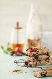 Granola bar on a blue rustic table Royalty Free Stock Image