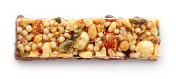 Granola bar. With chocolate  on white background Stock Images