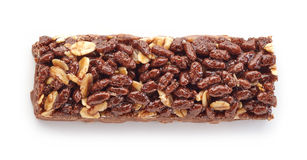 Granola bar. With cocoa isolated on white background Royalty Free Stock Photo