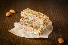 Granola bar or energy bar on brown background Stock Images