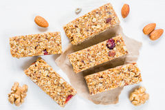 Granola bar or energy bar on white background Stock Photo