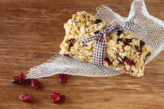 Granola bar or energy bar on wooden background Stock Photo