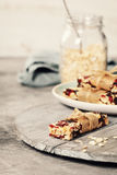 Granola bar on a grey rustic table Royalty Free Stock Photography