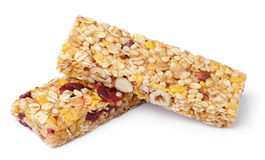 Granola bar muesli or cereal bar isolated on white Royalty Free Stock Photography