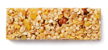Granola bar muesli or cereal bar isolated on white Stock Photos