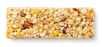 Granola bar, muesli or cereal bar isolated on white Royalty Free Stock Image