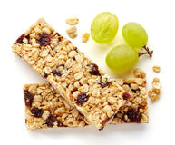 Granola bar. With raisins and grapes isolated on white background Stock Photography