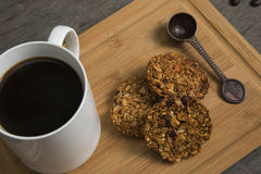 Granola. Bar served with coffee royalty free stock image