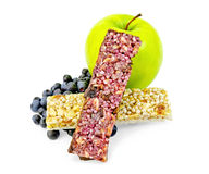 Granola bar two with blueberries and apple Royalty Free Stock Photos