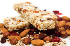 Granola bar on white background Royalty Free Stock Image
