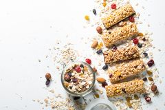 Granola Bar With Nuts, Fruit And Berries On White. Royalty Free Stock Image