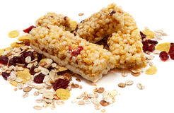 Granola Bars. With Cranberrys  on white background Royalty Free Stock Images