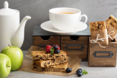 Granola bars for breakfast to go Royalty Free Stock Images