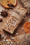 Granola bars with cereal and dried fruit Stock Images