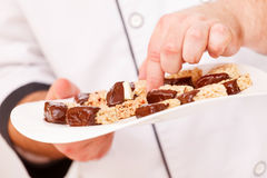 Granola bars with chocolate Royalty Free Stock Photos