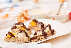 Granola bars with chocolate Stock Photography