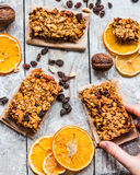 Granola bars citrus, peanut butter and dried fruit, healthy food Royalty Free Stock Photography