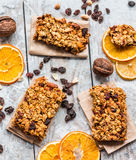 Granola bars citrus, peanut butter and dried fruit, healthy food Royalty Free Stock Photo