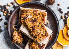 Granola bars citrus, peanut butter and dried fruit, healthy food Stock Images
