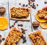 Granola bars citrus, peanut butter and dried fruit, healthy food ...