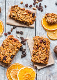 Granola bars citrus, peanut butter and dried fruit, healthy food Stock Photos