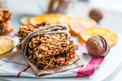 Granola bars citrus, seeds, peanut butter and dried fruit Royalty Free Stock Photo
