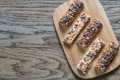 Granola bars with dried berries and chocolate Royalty Free Stock Image