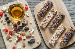 Granola bars with dried berries and chocolate Stock Photo