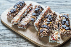 Granola bars with dried berries and chocolate Royalty Free Stock Images
