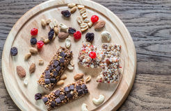 Granola bars with dried berries and chocolate Royalty Free Stock Photos