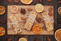 Granola bars with dried fruit and cereals Royalty Free Stock Photo