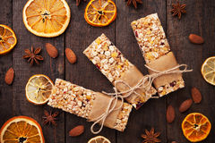 Granola bars with dried fruit and nuts Stock Photography