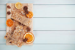 Granola bars with dried fruit Stock Photos