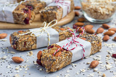 Granola bars with figs, oatmeal, almond, cranberry, chia, sunflower seeds Royalty Free Stock Photography