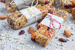 Granola bars with figs, oatmeal, almond, cranberry, chia, sunflower seeds Stock Photography