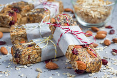 Granola bars with figs, oatmeal, almond, cranberry, chia, sunflower seeds Stock Photo