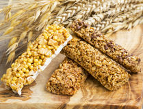 Granola bars .Healthy nuts and cereals protein snack bars Stock Image