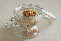 Granola bars in a jar. Homemade Granola bars in a jar Stock Photo