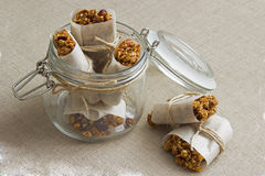 Granola bars in a jar. Homemade Granola bars in a jar Royalty Free Stock Photography