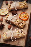 Granola bars with nuts and dried fruit Stock Photos