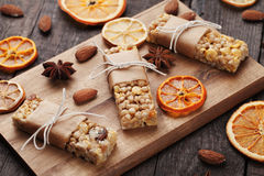 Granola bars with nuts and dried fruit Stock Images