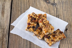 Granola bars with nuts and dried fruits Royalty Free Stock Photo