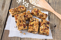 Granola bars with nuts and dried fruits Stock Images