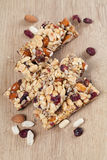 Granola bars with nuts, seeds and cranberries. Granola bars with various nuts, seeds and cranberries royalty free stock photo