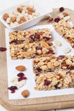 Granola bars with nuts, seeds and cranberries. Granola bars with various nuts, seeds and cranberries royalty free stock images