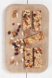 Granola bars with nuts, seeds and cranberries. Granola bars with various nuts, seeds and cranberries Stock Image