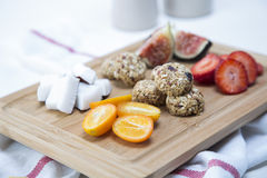 Granola. Bars served with fruits stock photography
