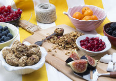 Granola. Bars served with fruits stock image