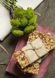 Granola. Bars served with fruits royalty free stock images